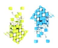 Set of up and down arrow icon colored blue and green Royalty Free Stock Photography