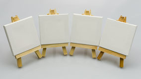 Set up easels. A four  small easels  ready to paint a picture Royalty Free Stock Photos