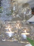 Set up table with a candle light for special occasion Stock Photos