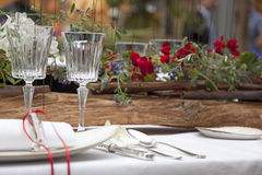 Set up. Table set up with fresh flowers Royalty Free Stock Photos