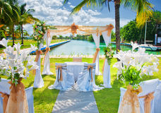 Set up for a tropical destination wedding in Marina Hemingway, H Stock Images