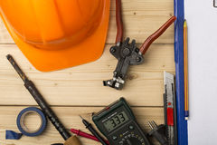 Set-up of various hand and electric tools Royalty Free Stock Image