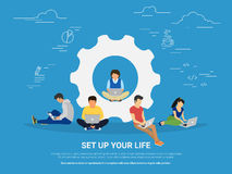 Set up your life concept illustration of business people Royalty Free Stock Photos