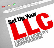 Set Up Your LLC Limited Liability Corporation Website Online Hel. Set Up Your LLC limited liability corporation words on a website screen to illustrate an online Stock Photos