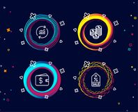Update data, Coins and Dollar wallet icons. Sale coupon sign. Sales statistics, Cash money, Discount tag. royalty free illustration