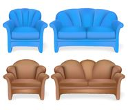 Set of upholstered furniture sofa chair Royalty Free Stock Images
