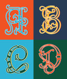 Set of uppercase colored decorative font family typeface Stock Photos