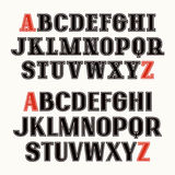 Set of uppercase font with contour Stock Photo