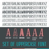 Set of uppercase narrow font Stock Photography