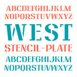 Set of uppercase stencil-plate font Stock Images