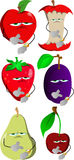 Set of upset fruits shows the time on their wrist watch Stock Image