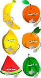 Set of upset fruits shows the time on their wrist watch Royalty Free Stock Photos