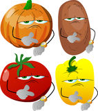 Set of upset vegetables shows the time on their wrist watch Royalty Free Stock Images