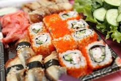 Set of uramaki sushi Royalty Free Stock Photo