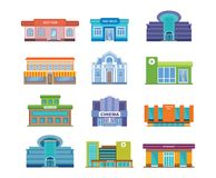 Set of modern urban buildings facades and architectural structures. Royalty Free Stock Photos