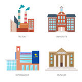 Set of urban buildings in a flat style. Factory, institute or university, a supermarket or shopping center and museum Stock Images