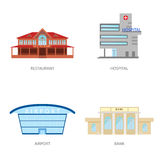 Set of urban buildings in a flat style. Restaurant, hospital, airport and bank. Vector, illustration in flat style. Isolated on white background EPS10 Royalty Free Stock Images
