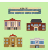 Set of urban buildings. Flat style. vector illustration Stock Photo