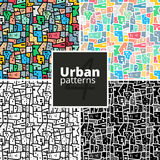Set of urban patterns. Vector textures. Royalty Free Stock Images