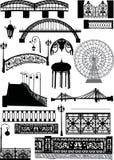 Set of urban street elements. Illustration with urban street elements isolated on white background Stock Image