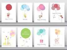 Set urodzinowe karty, plakat, szablon, kartka z pozdrowieniami, cukierki, balony, zwierzęta, Wektorowe ilustracje royalty ilustracja