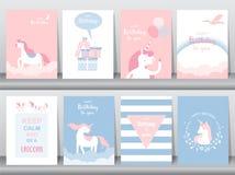Set urodzinowe karty, plakat, zaproszenia, karty, szablon, kartka z pozdrowieniami, zwierzęta, jednorożec, fantazja, magia, chmur royalty ilustracja