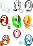 Set ursprüngliche symbolische Gesichter Stockfotografie