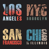 Set of us cities t-shirt designs. Vector illustration. Set of us cities t-shirt designs. Tee shirt print typography label badge emblem. Vector illustration Royalty Free Stock Images