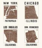 Set of US cities vintage t-shirt designs.Vector illustration. Set of US cities vintage t-shirt designs. Tee shirt print typography label badge emblem. Vector Stock Image