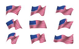 Set of US flags. Waving in the wind. Flag Day of United States of America background design. Creative concept for banners, posters and print. Vector Stock Photo