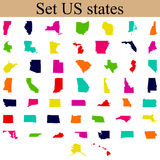 Set of US state maps Royalty Free Stock Photography