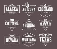 Set of US states vintage vector t-shirt and apparel designs, bad. Ges, typography, prints. Global swatches stock illustration