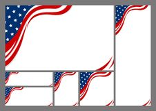 Set of USA abstract background design of american flag. With copy space vector illustration stock illustration