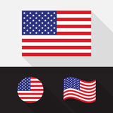 Set of USA, America flag flat design illustration. Set of USA, America flag flat design, isolated symbol with long shadow, illustration stock illustration