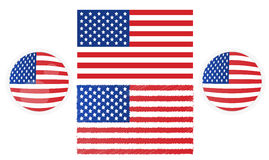 Set of USA / Americans flags. Royalty Free Stock Photo