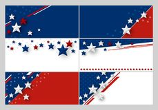 Set of USA banner abstract background design of american flag. With copy space vector illustration Royalty Free Stock Image