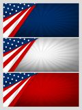 Set of USA banner abstract background design of american flag. With copy space vector illustration Stock Images