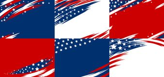 Set of USA banner abstract background design of american flag. Vector illustration Stock Photo