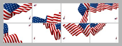 Set of USA banner background design of american flag wave. With copy space vector illustration vector illustration