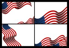 Set of USA banner background design of american flag wave. With copy space vector illustration royalty free illustration