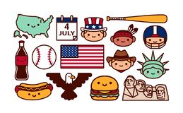 Set Of USA Cartoon Icons Isolated. Vector Set Of USA Cartoon Icons Isolated vector illustration