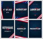 Set of USA celebrations. Public Holidays. 4th July, Patriot day, Labor day, Veteran`s day, Memorial and Presidents day. Set of USA celebrations. Public Holidays stock illustration