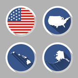 Set of USA country shape with flag, icons flat style. Vector Stock Image