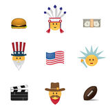 Set of usa emoticon vector Royalty Free Stock Image