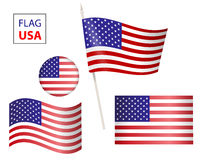 Set USA flag USA flag in form circle icon. The USA flag. set of united states flag american symbol wavy shape. USA flag in form circle icon. Flag US on a vector illustration