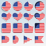 Set of USA flags in a flat design Royalty Free Stock Photo