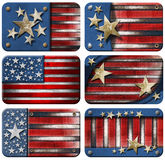 Set of USA Grunge Flags. Six USA grungy metal flag with with clipping path Stock Image