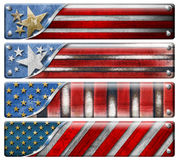 Set of USA Grunge Flags. Four USA grungy metal flag with clipping path Royalty Free Stock Image