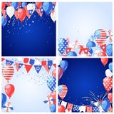 Set of USA holiday vector backgrounds and frames. 4 of July USA Independence Day greeting card or banner template.  stock illustration