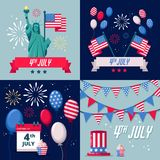 Set of USA holiday vector backgrounds, icons, stickers. 4 of July USA Independence Day greeting card or banner template. Set of USA holiday vector backgrounds vector illustration
